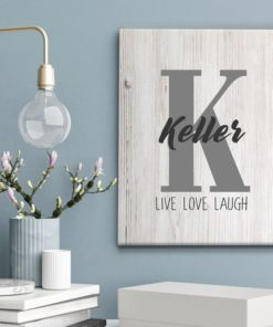 CAN00003-Monogram Family Name Monogram Personalized Live Love Laugh Canvas Wall Art Custom Print Wedding Anniversary Housewarming Gift Idea by Personalize it FREE
