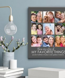 CAN00004-FavoriteThings My Favorite Things Personalized Photo Keepsake Canvas Wall Art 3 COLORS Custom Family Gift Grandmother Mom Mother Mother's Day Grandparents Custom Gift by Personalize it FREE