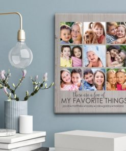 CAN00004-FavoriteThings My Favorite Things Woodgrain Personalized Photo Keepsake Canvas Wall Art 3 COLORS Custom Family Gift Grandmother Mom Mother Mother's Day Grandparents Custom Gift by Personalize it FREE