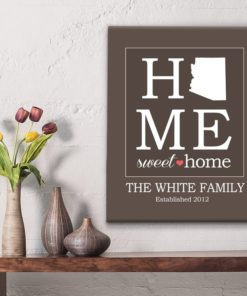 CAN00005-HomeSweetHome Home Sweet Home Family Name/State Keepsake Canvas Wall Art - 5 COLORS Custom Wall Decor Gift Idea by Personalize it FREE