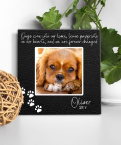 CAN00008-DogPrints Pawprints on our Hearts Dog Memorial Photo Keepsake Canvas Wall Art Memorial Pet Lover Dog Gift Idea by Personalize it FREE