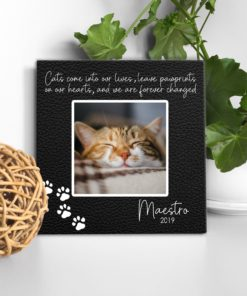 CAN00009-CatPrints Pawprints on our Hearts Cat Memorial Photo Keepsake Canvas Wall Art Memorial Cat Pet Lover Gift Idea by Personalize it FREE