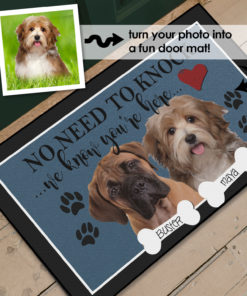 PIF-OFM00032-COLORCHOICE No Need to Knock... Funny Family Dog/Pet Photo Portrait Welcome Door Mat by Personalize it FREE