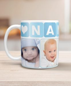 PIF-CM00001-GrandmaPhotoMug-BLUE-NANNY GRANDMOTHER Pale Blue Personalized Ceramic Photo Coffee Mug Valentines Day Holiday Anniversary Gift Idea