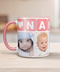 PIF-CM00001-GrandmaPhotoMug-PINK-NANNY1 GrandmaPhotoMug-GRANDMOTHER Pale Pink Personalized Ceramic Photo Coffee Mug Valentines Day Holiday Anniversary Gift Idea by Personalize it FREE