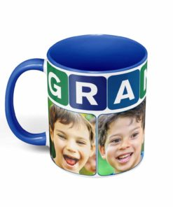 PIF-CM00002-GrandpaPhotoMug-BLUE-GREEN GRANDFATHER/Papa Personalized Ceramic Photo Coffee Mug Valentines Day Holiday Anniversary Gift Idea by Personalize it FREE