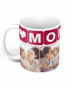 PIF-CM00003a-MomPhotoMug-PINK2TONE MOM/Mother Pale Pink Personalized Ceramic Photo Coffee Mug Valentines Day Holiday Anniversary Gift Idea By Personalize it FREE