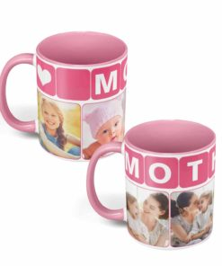 PIF-CM00003-MomPhotoMug-PINK2TONE MOM/Mother Pale Pink Personalized Ceramic Photo Coffee Mug Valentines Day Holiday Anniversary Gift Idea By Personalize it FREE
