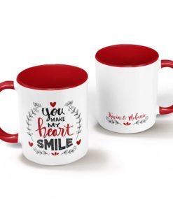 PIF-CM00005-HEARTSMILE You Make My Heart Smile Personalized Ceramic Coffee Mug Valentines Day Holiday Anniversary Gift Idea