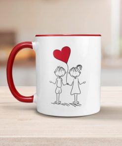 PIF-CM00006-COUPLELOVE LOVE Heart Balloon Illustration Personalized Ceramic Coffee MugValentines Day Holiday Anniversary Gift Idea