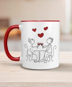 PIF-CM00007-WINECOUPLE Wine Lover Couple Illustration Personalized Ceramic Coffee Mug Valentines Day Holiday Anniversary Wine Lover Gift Idea