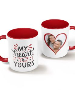 PIF-CM00009-MYHEART My Heart is Yours Personalized Ceramic Photo Coffee Mug Valentines Day Holiday Anniversary Gift Idea by Personalize it FREE