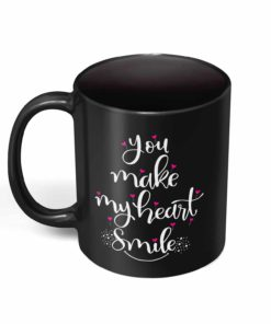 PIF-CM00014-HEARTSMILE2 You Make My Heart Smile Personalized Ceramic Coffee Mug Valentines Day Holiday Anniversary Wine Lover Gift Idea by Personalize it FREE
