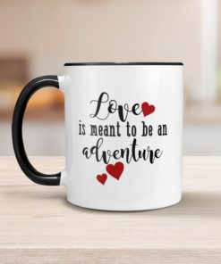 PIF-CM00016-LOVEISANADVENTURE LOVE is an Adventure Personalized Ceramic Coffee Mug Valentines Day Holiday Anniversary Wine Lover Gift Idea by Personalize it FREE