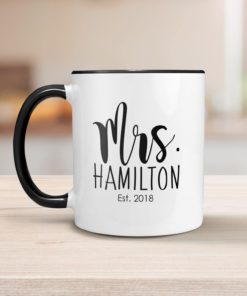 PIF-CM00022-MRANDMRS MR. and MRS. Personalized Ceramic Coffee Mug Set Valentines Day Holiday Anniversary Wine Lover Gift Idea by Personalize it FREE