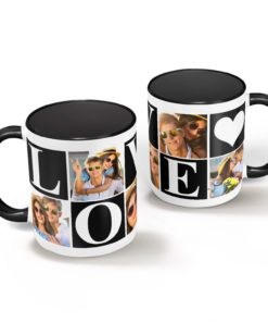 PIF-CM00023-LOVEPHOTO3 LOVE Personalized Black/White Ceramic Photo Coffee Mug Valentines Day Holiday Anniversary Gift Idea