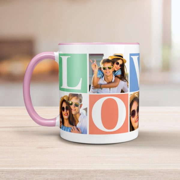 PIF-CM00024-LOVEPHOTO4 LOVE Personalized Pink/Pastels Ceramic Photo Coffee Mug Valentines Day Holiday Anniversary Gift Idea