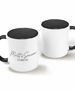 PIF-CM00025-SIMPLESCRIPT Simple Script Couples Personalized Ceramic Coffee Mug Set Valentines Day Holiday Anniversary Wine Lover Gift Idea by Personalize it FREE
