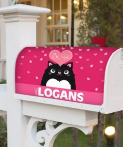 """PIF-MBC00010-ValentinesDayCat """"Be Mine"""" Valentine Cat Personalized Mailbox Cover Vinyl Weatherproof Wrap Valentines Day Holiday Seasonal by Personalize it FREE"""