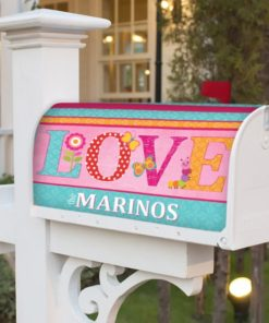 PIF-MBC00012-LOVEValentinesDay LOVE Sping Critters Personalized Mailbox Cover Vinyl Weatherproof Wrap Valentines Day Holiday Seasonal