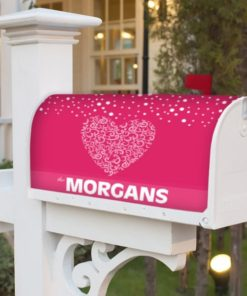 PIF-MBC00013-ValentineHeart Elegant Lace Heart Personalized Mailbox Cover Vinyl Weatherproof Wrap Valentines Day Holiday Seasonal by Personalize it FREE