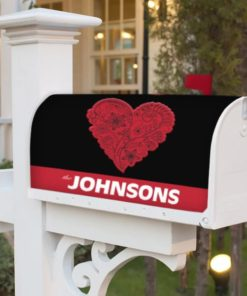 PIF-MBC00014-ValentineHeart2 Red Heart Personalized Mailbox Cover Vinyl Weatherproof Wrap Valentines Day Holiday Seasonal by Personalize it FREE