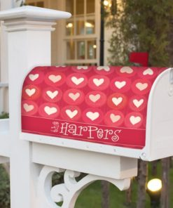 PIF-MBC00015-Hearts Whole Lotta Hearts Personalized Mailbox Cover Vinyl Weatherproof Wrap Valentines Day Holiday Seasonal by Personalize it FREE
