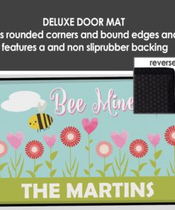 """PIF-OFM00044-BeMineValentinesDay """"Bee Mine"""" Hearts & Flowers Personalized Welcome Door Mat Valentines Day Holiday Spring Love by Personalize it FREE"""