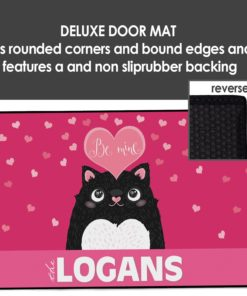 """PIF-OFM00045-ValentinesDayCat """"Be Mine"""" Valentine Cat Personalized Welcome Door Mat Valentines Day Holiday Spring Love by Personalize it FREE"""