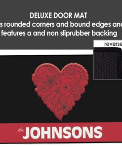 PIF-OFM00049-ValentineHeart2 Red LOVE Heart Personalized Welcome Door Mat Valentines Day Holiday Spring Love by Personalize it FREE
