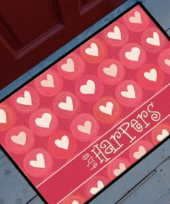PIF-OFM00050-Hearts Whole Lotta Hearts Personalized Welcome Door Mat Valentines Day Holiday Spring Love by Personalize it FREE