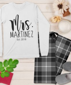 PIF-PJSET00002-MrAndMrs Mr. and Mrs. Husband and Wife Personalized Pajama Set His and Hers Matching Coordinating PJ's by Personalize it FREE