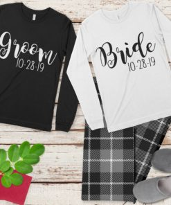 PIF-PJSET00004-BrideandGroom Bride and Groom His and Her Personalized Pajama Set Husband and Wife Matching Coordinating PJ's by Personalize it FREE