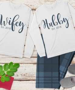 PIF-PJSET00005-WifeyandHubby Wifey and Hubby His and Her Personalized Pajama Set His and Hers Matching Coordinating PJ's by Personalize it FREE