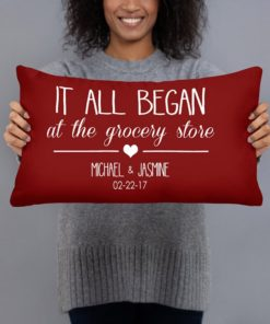 PIF-TP-10047-Valentine-Our Story... Where it All Began Personalized Couples Throw Pillow Valentines Love Anniversary Gift