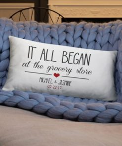 PIF-TP-10048-Valentine Valentine-Our Story... Where it All Began Personalized Couples Throw Pillow Valentines Love Anniversary Gift