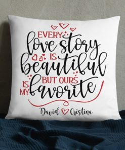 PIF-TP-10051-Valentine Every Love Story Personalized Couples Throw Pillow Valentines Love Anniversary Gift
