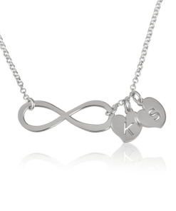 PIFON001548 Infinity Personalized Sterling Silver Heart Initial Charm Necklace by Personalize it FREE Mothers Day Valentines Day Holiday Birthday Gift Idea