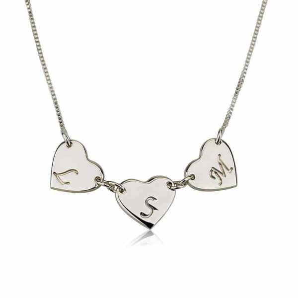 PIFON001593 Personalized Silver Linked Heart Charm Necklace by Personalize it FREE Mothers Day Valentines Day Holiday Birthday Gift