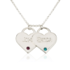 PIFON001733 Two Hearts Personalized Sterling Silver Engraved Charm Necklace with Birthstones by Personalize it FREE Valentines Mothers Day Holiday Birthday Gift Idea