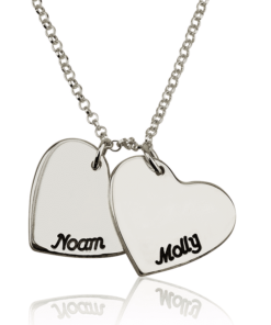 PIFON001737 Two Hearts Personalized Sterling Silver Engraved Charm Necklace by Personalize it FREE Valentines Mothers Day Holiday Birthday Gift Idea