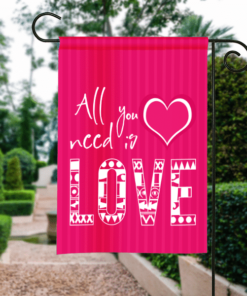 SGF-00103 Personalized Happy Valentine's Day Garden House Flag Banner Sign Ourdoor Yard Home Decor by Personallize it FREE