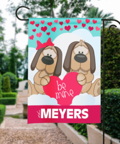SGF-00121 Personalized Happy Valentine's Day Garden House Flag Banner Sign Ourdoor Yard Home Decor by Personallize it FREE