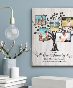 CAN00012-FamilyTree Our Family Tree Personalized Photo Keepsake Canvas Wall Art Anniversary Couples Family Gift Idea by Personalize it FREE