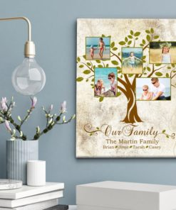 CAN00013-FamilyTree Our Family Tree Personalized Photo Keepsake Canvas Wall Art Anniversary Couples Family Gift Idea by Personalize it FREE