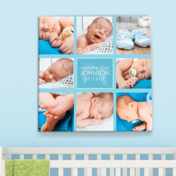 CAN00016-BabyCollage Baby Boy Photo Collage Personalized Keepsake Canvas Wall Art by Personalize it FREE