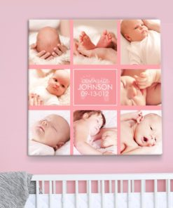 CAN00017-BabyCollage2 Baby Girl Pink Photo Collage Personalized Keepsake Canvas Wall Art by Personalize it FREE