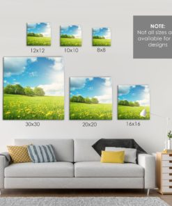 CANVAS SIZE COMPARISON (SQUARE) for Personalized Canvas Wall Art by Personalize it FREE